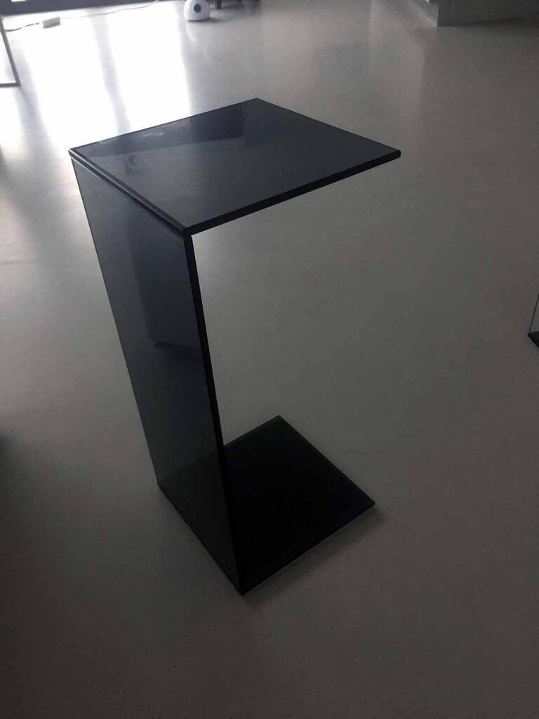 Pglas - Glazen bijzettafel zetel salon grijs gehard glas UV verlijmd 001