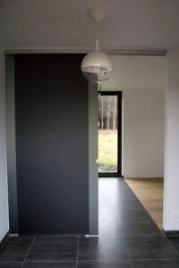 Glazen deuren schuifdeur met vast zijpaneel grijs gezuurd