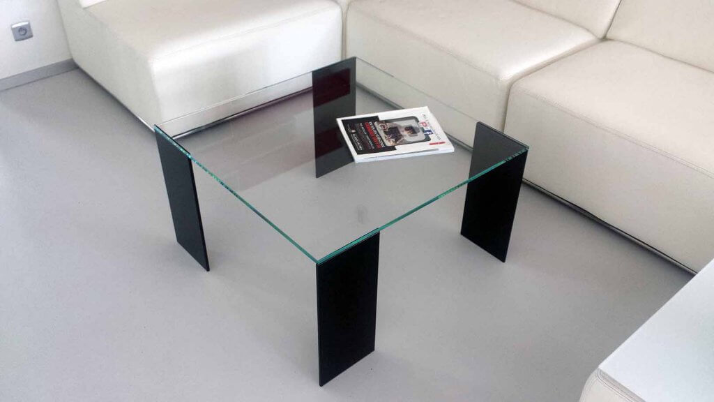Pglas - glazen salontafel ruTable helder glas dark grey glas UV verlijmd 001