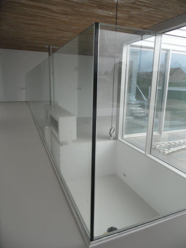 Pglas - Glazen balustrade trapleuning stalen glasklem helder glas 007